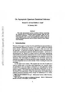 On Asymptotic Quantum Statistical Inference