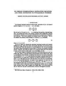 ON CERTAIN COMBINATORIAL DIOPHANTINE EQUATIONS AND