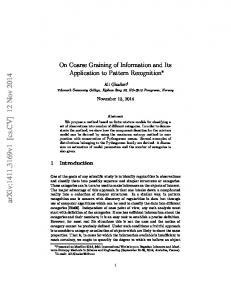On Coarse Graining of Information and Its Application to Pattern ...