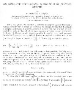 on complete topological subgraphs of certain graphs - The Institute