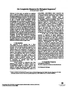 On complexity measures for biological sequences - CiteSeerX