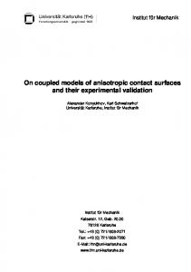 On coupled models of anisotropic contact surfaces and their ...