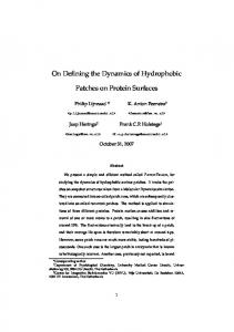 On Defining the Dynamics of Hydrophobic Patches on Protein Surfaces