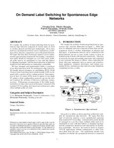 On Demand Label Switching for Spontaneous Edge Networks - Events