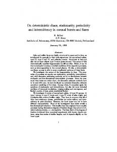 On deterministic chaos, stationarity, periodicity and ... - CiteSeerX