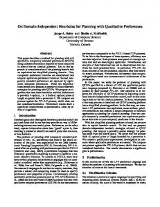 On Domain-Independent Heuristics for Planning ... - Semantic Scholar