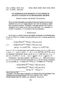 On Existence and Stability of Solutions to Elliptic Systems with