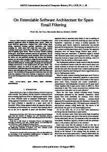 On Extendable Software Architecture for Spam Email Filtering - IAENG