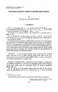 ON FINITE RATIONAL GROUPS AND RELATED ... - Project Euclid