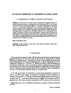 ON GROUPS GENERATED BY ELEMENTS OF PRIME ORDER L