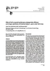 on growth performance, photosynthetic efficiency and ... - Springer Link