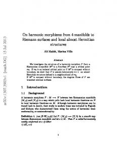 On harmonic morphisms from 4-manifolds to Riemann surfaces and ...