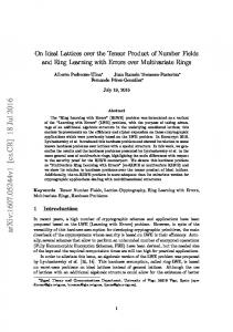 On Ideal Lattices over the Tensor Product of Number Fields and Ring ...