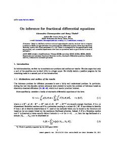 On inference for fractional differential equations