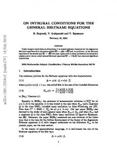 ON INTEGRAL CONDITIONS FOR THE GENERAL BELTRAMI ...