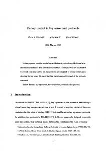 On key control in key agreement protocols 1 Introduction
