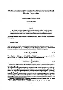On Linearization and Connection Coefficients for ... - Mathematik