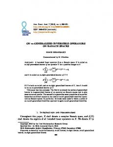 On m-generalized invertible operators on Banach ... - Project Euclid