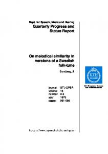On melodical similarity in versions of a Swedish ... - Semantic Scholar