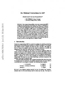 On Minimal Corrections in ASP - Semantic Scholar
