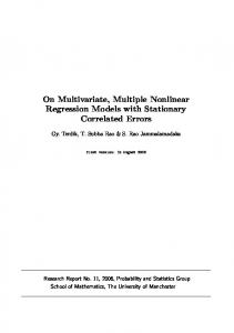 On Multivariate, Multiple Nonlinear Regression Models with Stationary ...