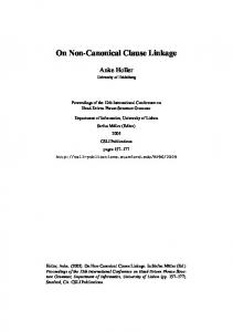 On Non-Canonical Clause Linkage