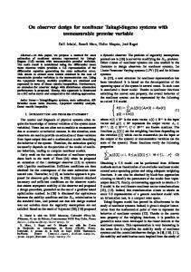 On observer design for nonlinear Takagi-Sugeno systems with ...