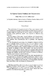 On Optimal Control Problems with Discontinuities - Core