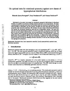 On optimal tests for rotational symmetry against new classes of ... - arXiv