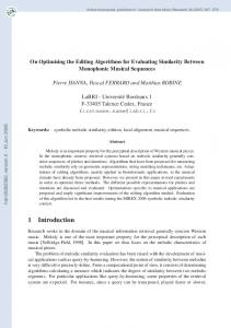 On Optimising the Editing Algorithms for Evaluating Similarity Between ...