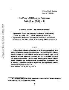 On Pairs of Difference Operators Satisfying:[D, X]= Id