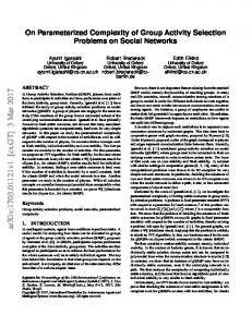 On Parameterized Complexity of Group Activity Selection Problems on ...