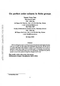 On perfect order subsets in finite groups