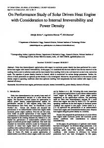 On Performance Study of Solar Driven Heat Engine with ...