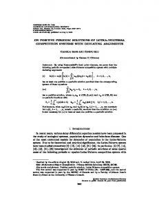 ON POSITIVE PERIODIC SOLUTIONS OF LOTKA-VOLTERRA ...