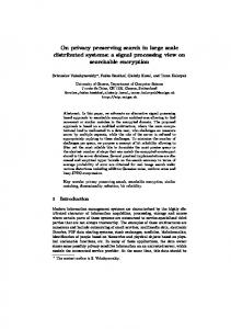 On privacy preserving search in large scale ... - Semantic Scholar