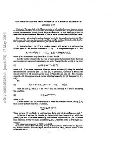 On Properties of Polynomials in Random Elements