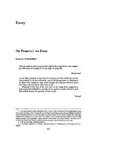 On Property: An Essay