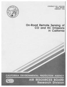 ON-ROAD REMOTE SENSING OF CO AND HC EMISSIONS IN ...