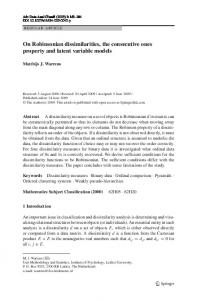 On Robinsonian dissimilarities, the consecutive ones ... - Springer Link