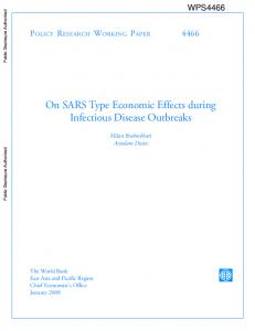 On SARS Type Economic Effects during Infectious Disease Outbreaks