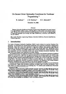 On Second-Order Optimality Conditions for ... - Optimization Online