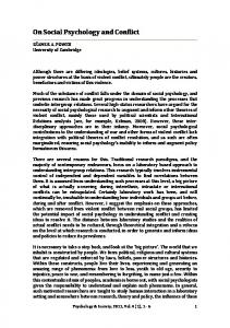 On Social Psychology and Conflict - Psychology & Society
