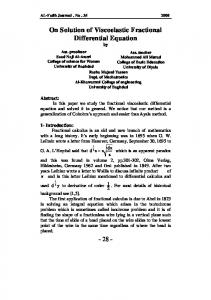 On Solution of Viscoelastic Fractional Differential Equation