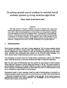 On solving optimal control problems for switched