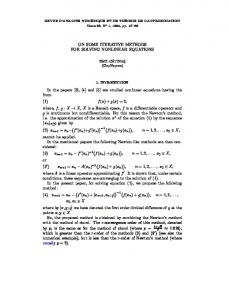 ON SOME ITERATIVE METHODS FOR SOLVING NONLINEAR ...