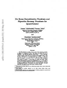 On Some Zarankiewicz Numbers and Bipartite Ramsey Numbers for ...