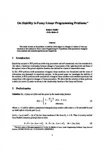 On Stability in Fuzzy Linear Programming Problems