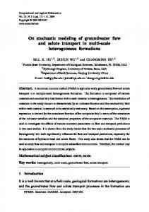 On stochastic modeling of groundwater flow and solute ... - SciELO