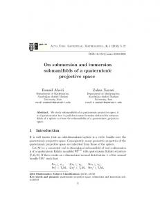 On submersion and immersion submanifolds of a quaternionic ... - EMIS